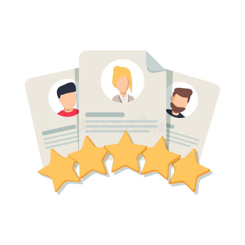 Granskning för klient` s, kommentar för ` s för kundåterkoppling, användareeller tillfredsställelsenivå Stående av tre personer vektor illustrationer