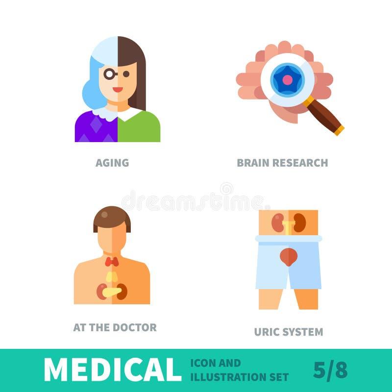 Granskningar av hälsa i gamling royaltyfri illustrationer