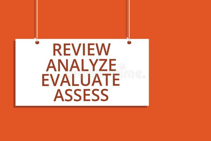 Granskningen för ordhandstiltext analyserar utvärderar bedömer Affärsidéen för utvärderingen av att hänga för kapacitetsåterkoppl vektor illustrationer