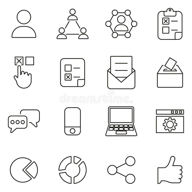 Gransknings- eller röstningsymboler gör linjen vektorillustrationuppsättning tunnare royaltyfri illustrationer