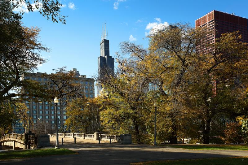 Grant Park Chicago blue sky fall leaves stock images