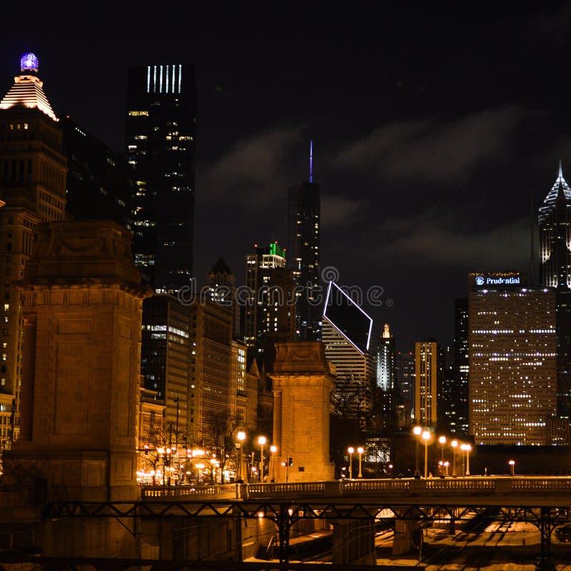 Grant Park, Chicago, na noite fotos de stock royalty free