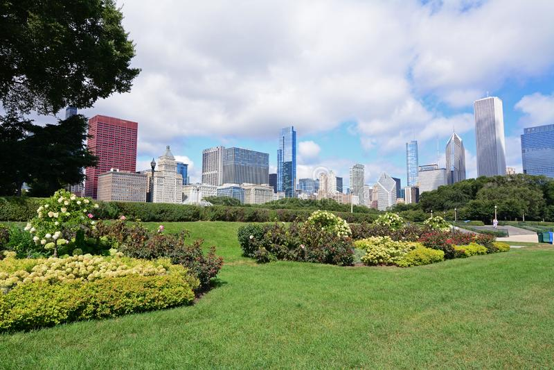 Grant Park-tuinen in de zomer in Chicago stock foto's
