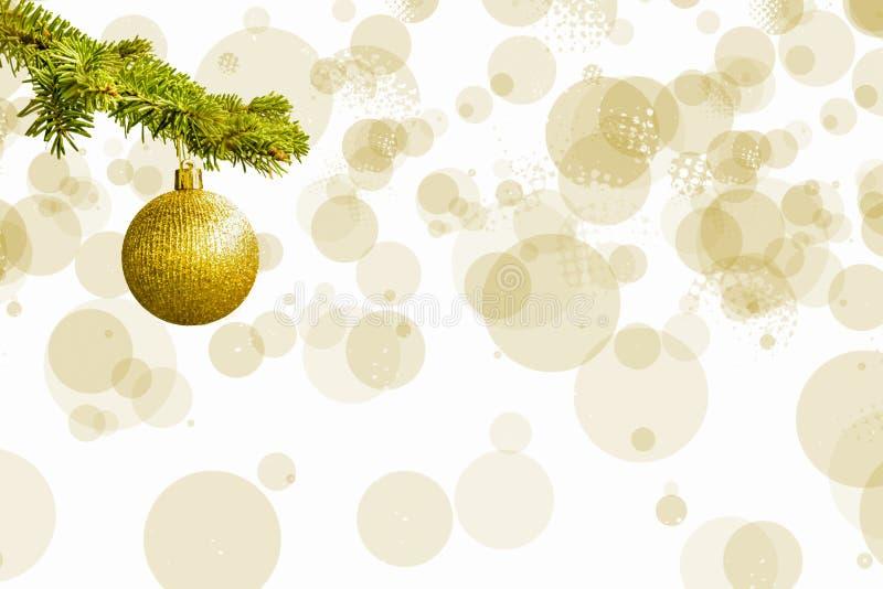 Granträdfilialen med ett guld- blänker bollen på vit bakgrund Bokeh effekter christmastime för illustrationvykort för jul eps10 v royaltyfria bilder