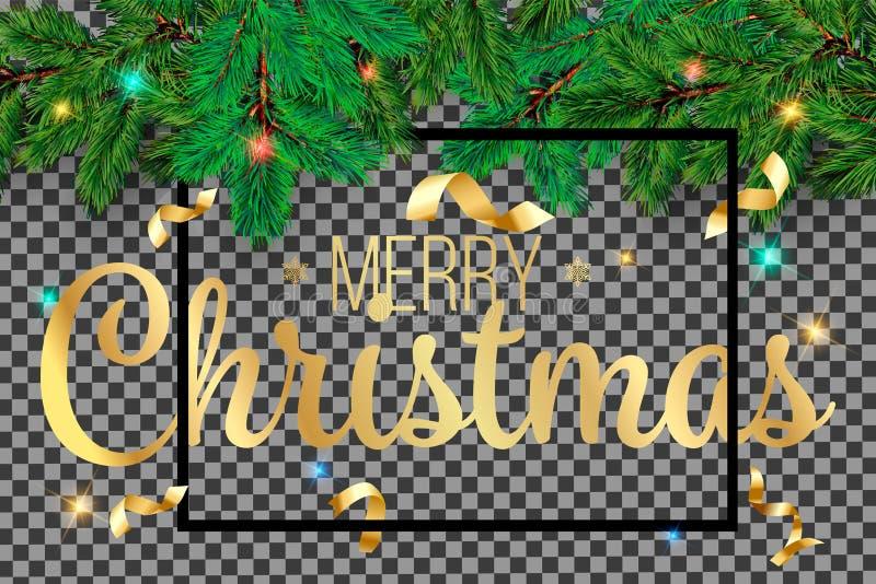 Granträdfilialer Glamourbakgrund för glad jul med sörjer filialen, och hälsningar smsar Hälsa vektorbil för lyckligt nytt år 2019 vektor illustrationer