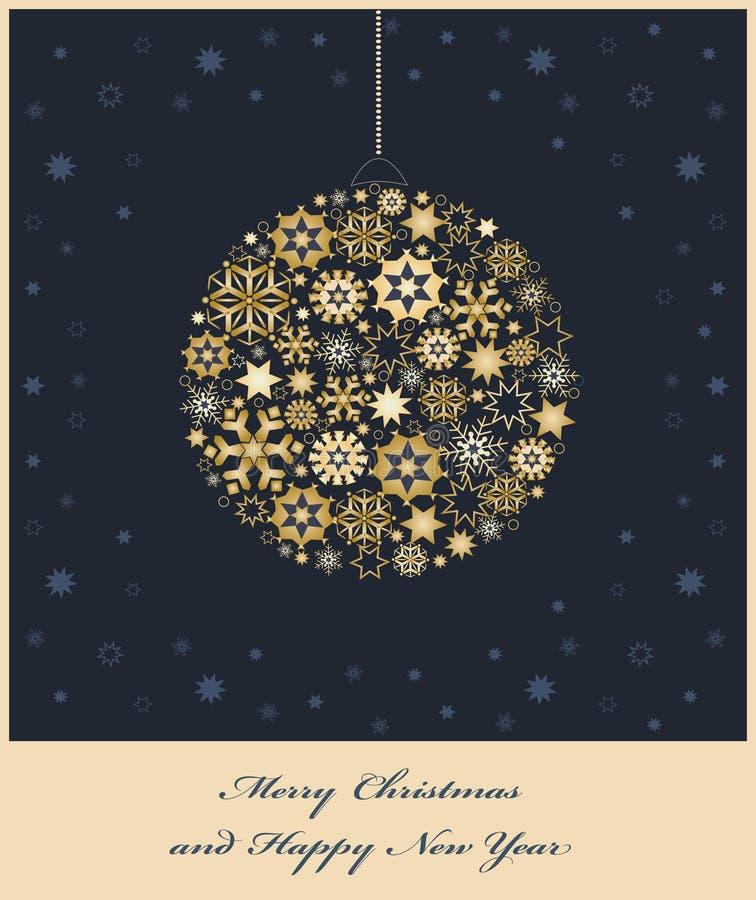 Grantreebauble från guld- snowflakes stock illustrationer