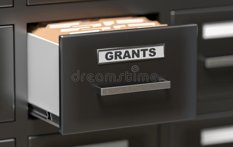 Grants folders and files in cabinet in office. 3D rendered illustration.  stock illustration