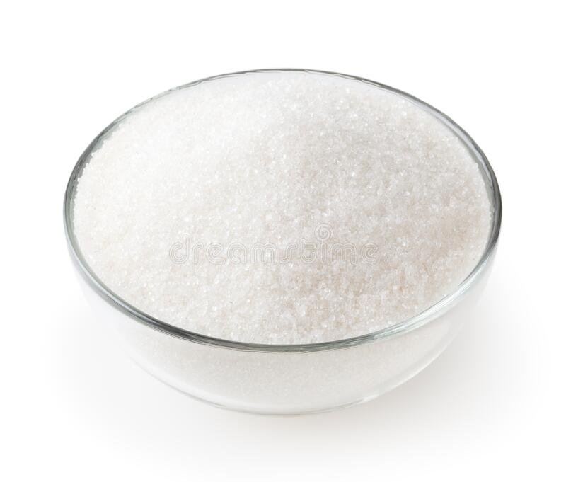 Granulated sugar in glass bowl isolated on white stock images