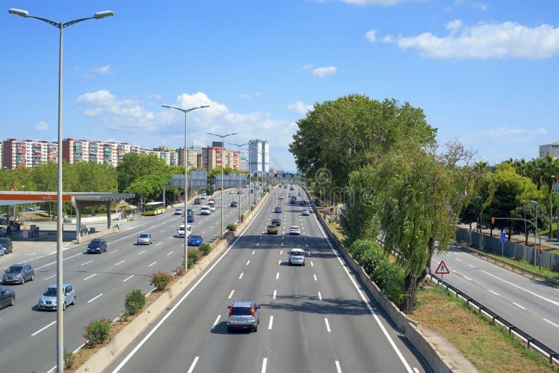 Granvia大道在Hospitalet de Llobregat,西班牙 免版税图库摄影