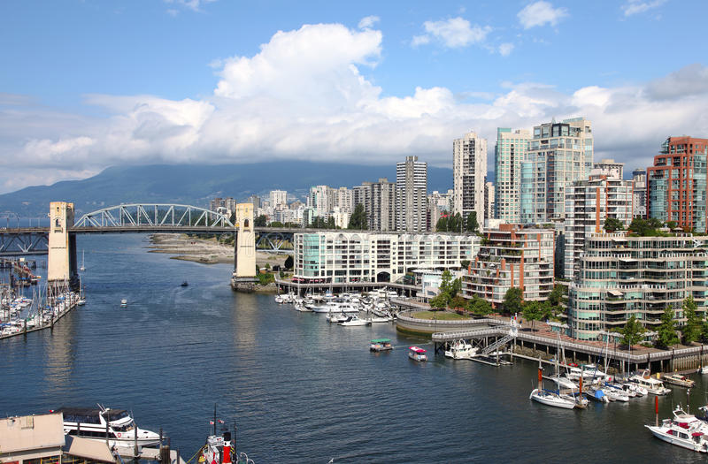 Granville Island & high rises, Vancouver BC royalty free stock photography