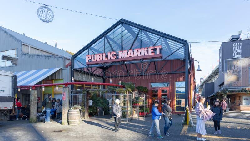 Granville Island Public Market i Vancouver Det är hem- till över 100 försäljare som erbjuder nytt skaldjur, kött, sötsaker och eu arkivbild