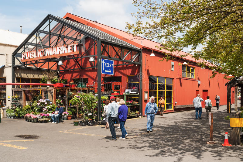 Granville Island Public Market in Vancouver, Canada. It's home to over 100 vendors offering fresh seafood, meats, sweets and European specialty foods royalty free stock photography