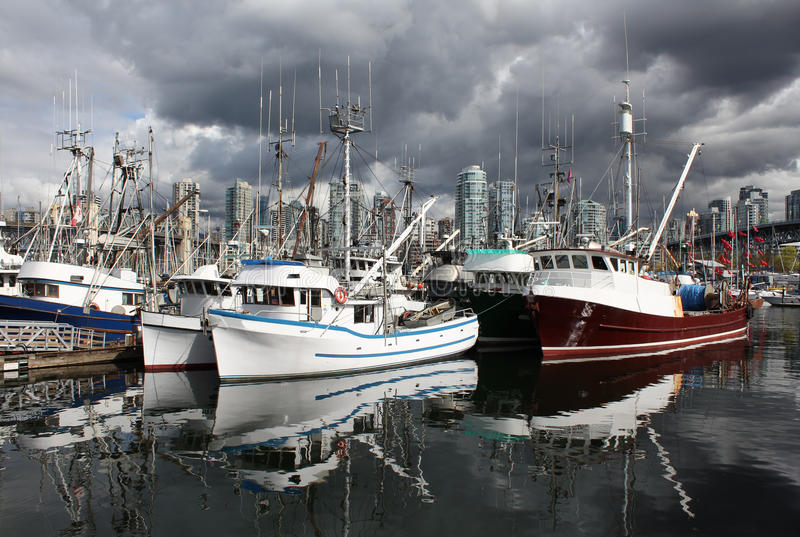 Granville Island Vancouver Fish Boats stock photos
