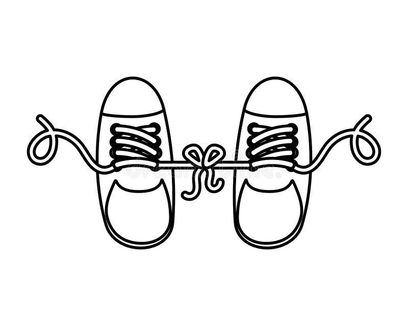 Grap met gebonden schoenen royalty-vrije illustratie