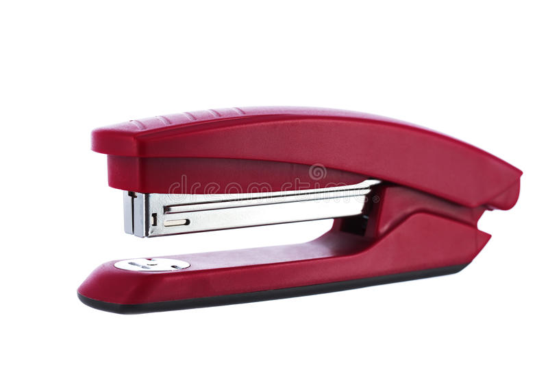 Grapadora roja aislada en el fondo blanco foto de archivo libre de regalías
