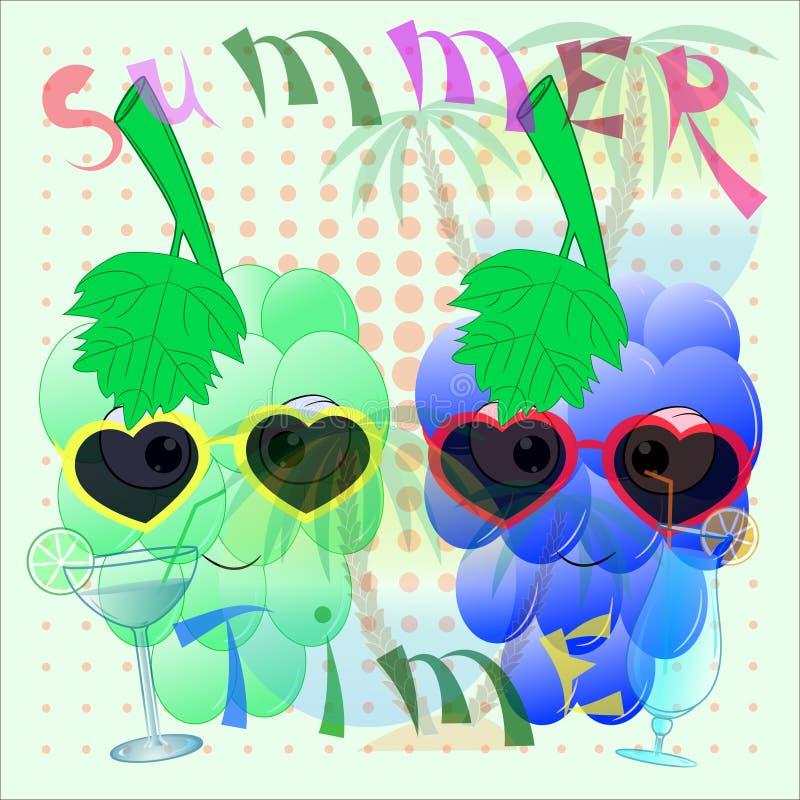 Grape cartoon summer time poster stock illustration