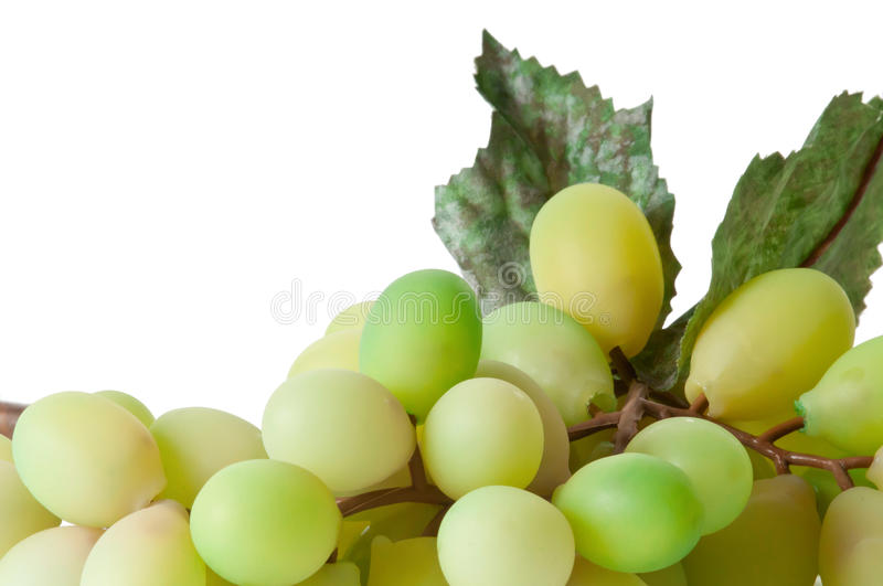 Grape Cluster. Photo of a grape cluster, isolated on white background. Grapes are artificial royalty free stock image