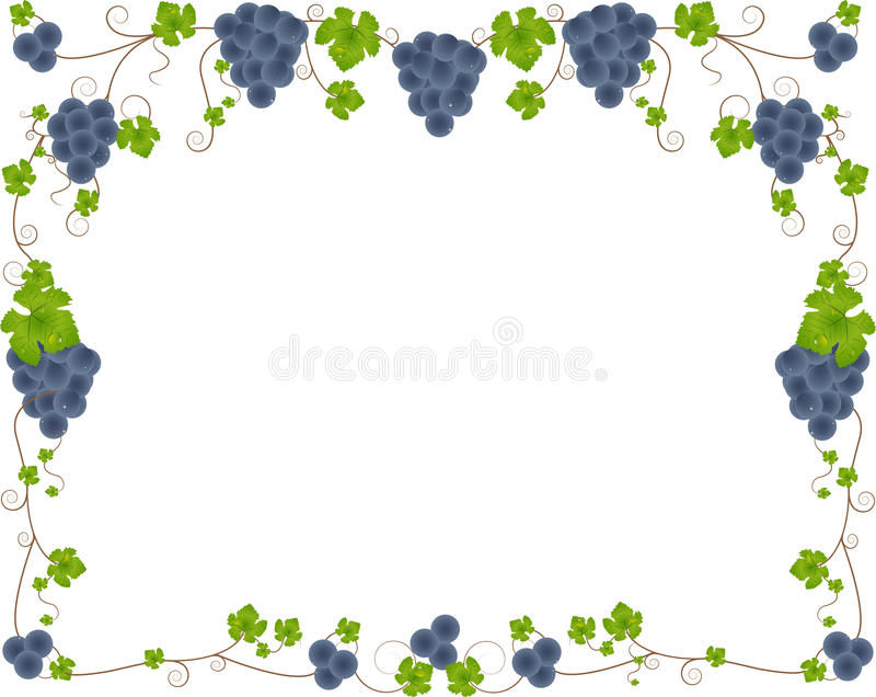 Grape frame. Delicious glowing vector grapes frame illustration stock illustration