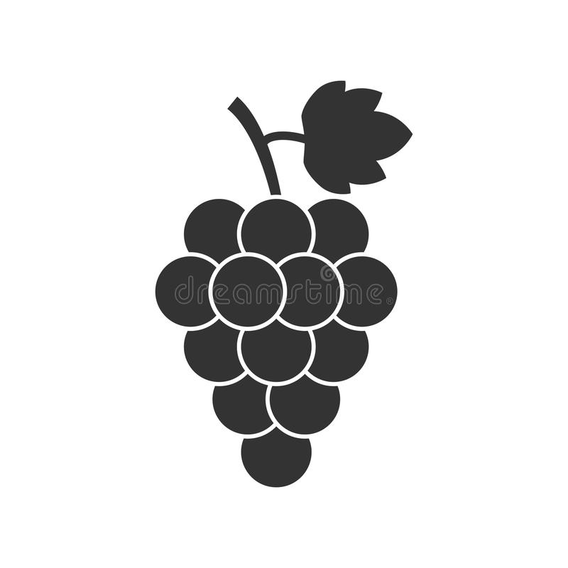 Grape fruit with leaf icon. Vector illustration on white background. Business concept Bunch of wine grapevine pictogram. stock illustration