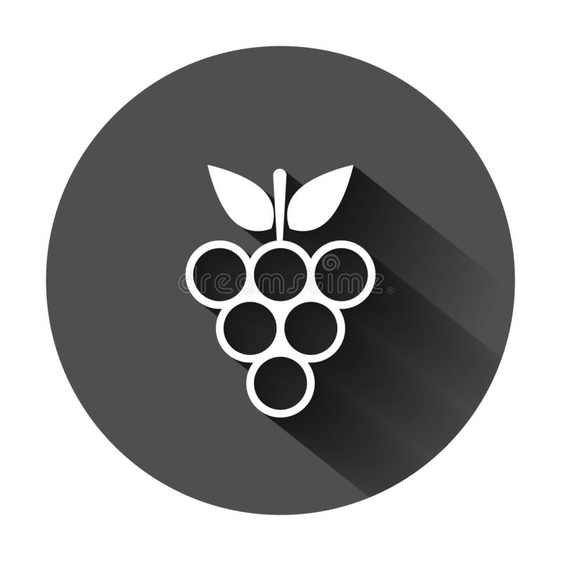 Grape fruits sign icon in flat style. Grapevine vector illustration on black round background with long shadow. Wine grapes. Business concept stock illustration