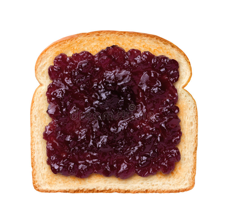 Grape Jelly on Toast. Aerial view of a single slice of Toast with grape jelly, or jam. Jelly is a sweet elastic spread made from fruit juice and sugar boiled to stock images