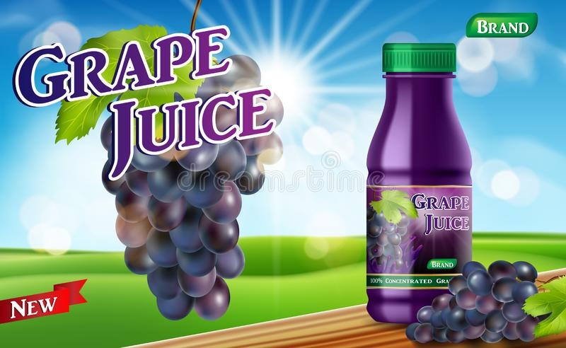 Grape juice bottle with bokeh background on wooden table. Juice container package ad. 3d realistic grape Vector royalty free illustration