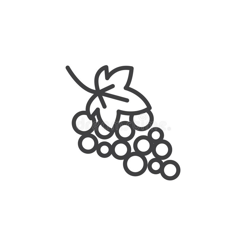 Grape with leaves line icon. Linear style sign for mobile concept and web design. Grape bunch outline vector icon. Symbol, logo illustration. Vector graphics stock illustration