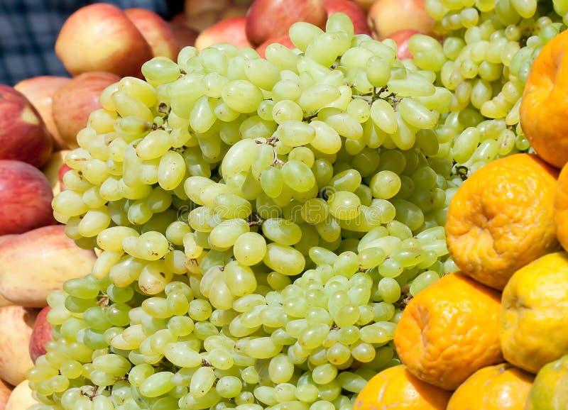 Grape, orange , apple stock photo