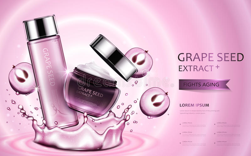 Grape seed extract cosmetic ads. Beautiful containers with ingredients and splashing water elements in 3d illustration royalty free illustration