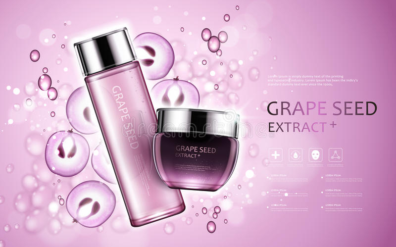 Grape seed extract. Cosmetic ads with grape seed and bubbles elements in 3d illustration stock illustration