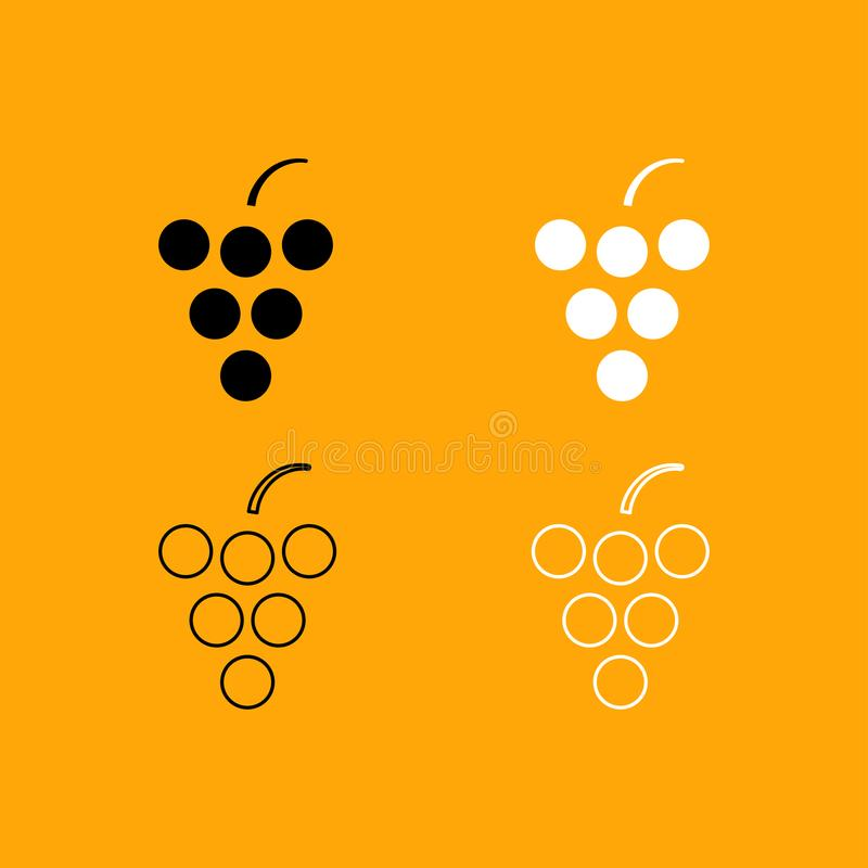 Grape set black and white icon . Grape it is set black and white icon vector illustration