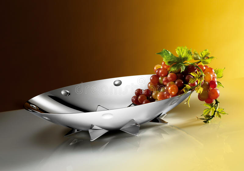 Download Grape on silver plate stock photo. Image of alternatives - 39503026
