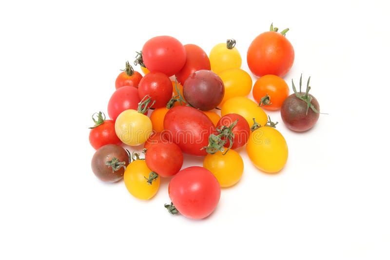Grape tomato in a white background stock images