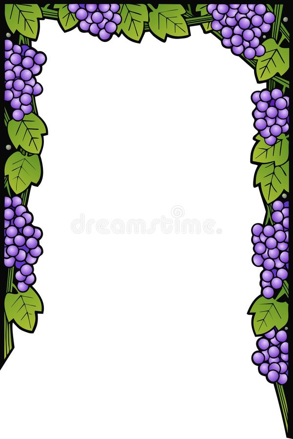 Grape Vines Border. Border design with grapes, leaves and vines stock illustration