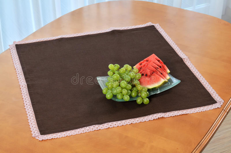 Grape and watermelon. On the table stock images