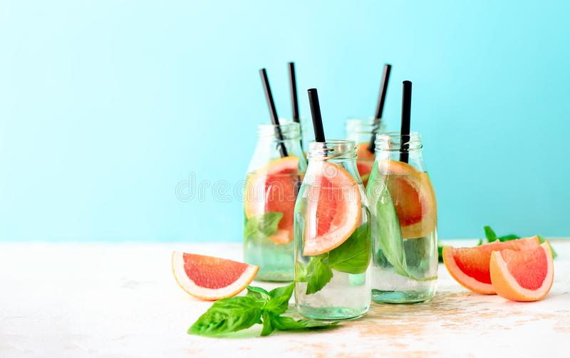 Grapefruit and basil summer refreshing drink stock photography
