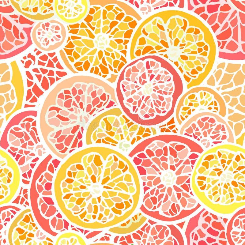 Grapefruit en oranje naadloos patroon stock illustratie