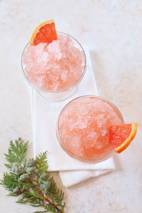 Grapefruit granita, frozen summer dessert. Selective focus, top view stock images