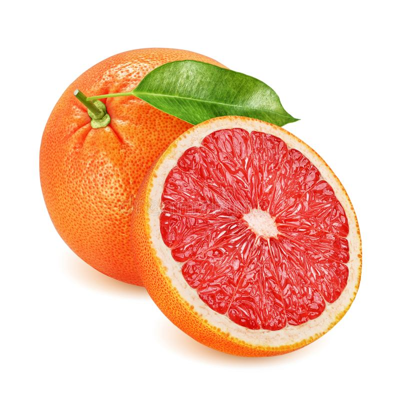 Grapefruit with leaf whole and halved isolated royalty free stock image