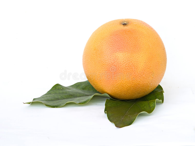 Grapefruit on leaves stock photo