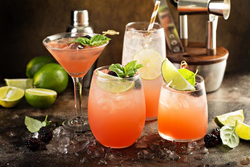 Grapefruit and lime cocktails. In different glasses and bartender tools royalty free stock photos