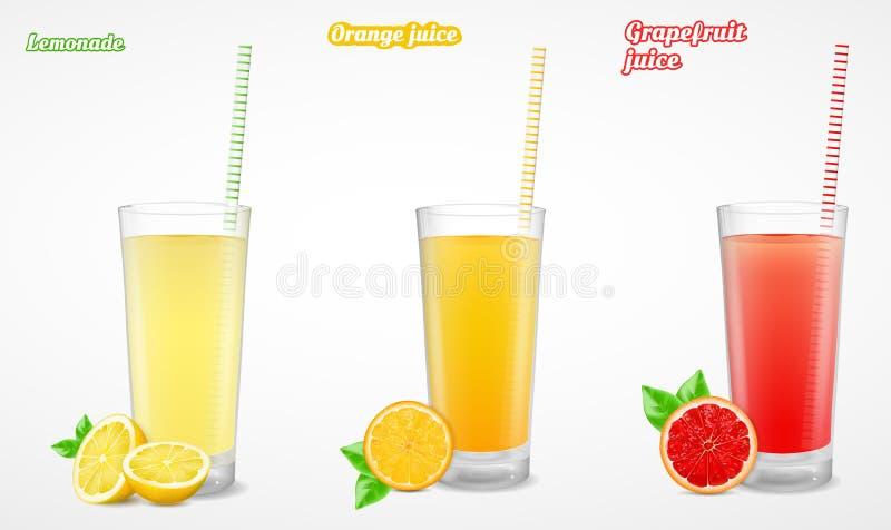 Grapefruit, limonade en jus d'orange in een glas Vector illustratie stock illustratie