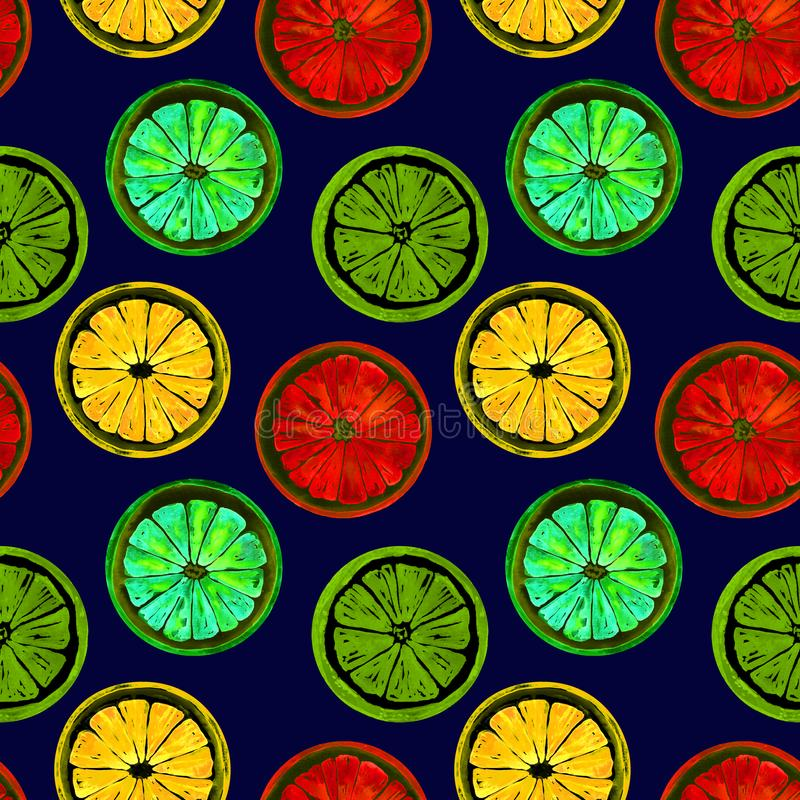 Grapefruit, orange, lime and lemon, bright neon colors palette on dark blue background royalty free illustration