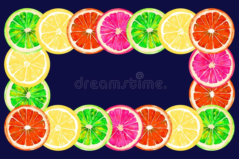 Grapefruit, orange, lime and lemon, horizontal frame greeting card or banner design on dark blue background royalty free illustration