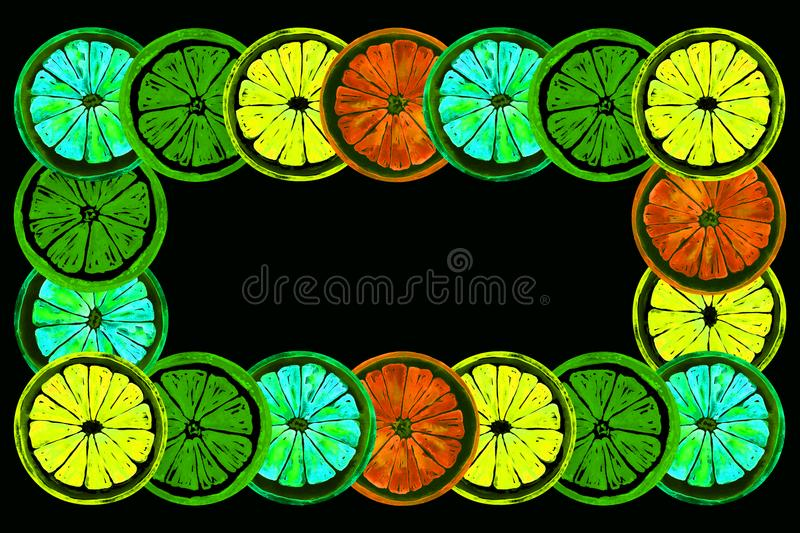 Grapefruit, orange, lime and lemon, horizontal frame greeting card or banner design, neon bright color palette royalty free illustration