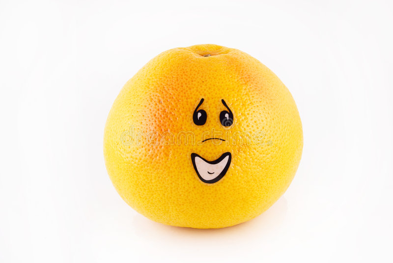 grapefruit with a person apology stock photo