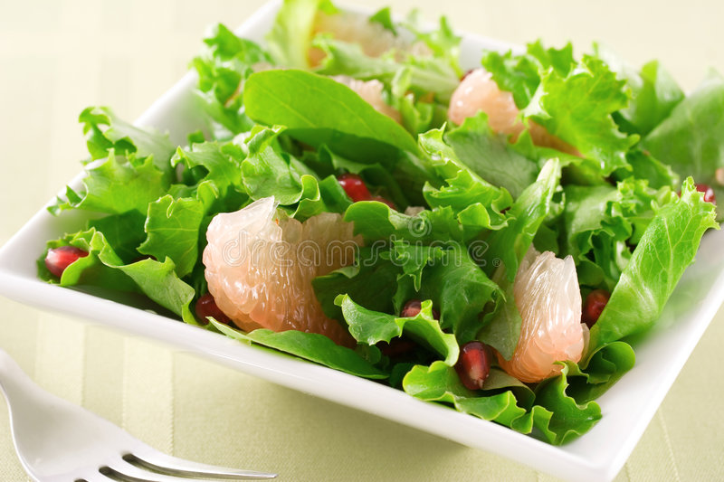 Grapefruit and pomegranate salad royalty free stock photography