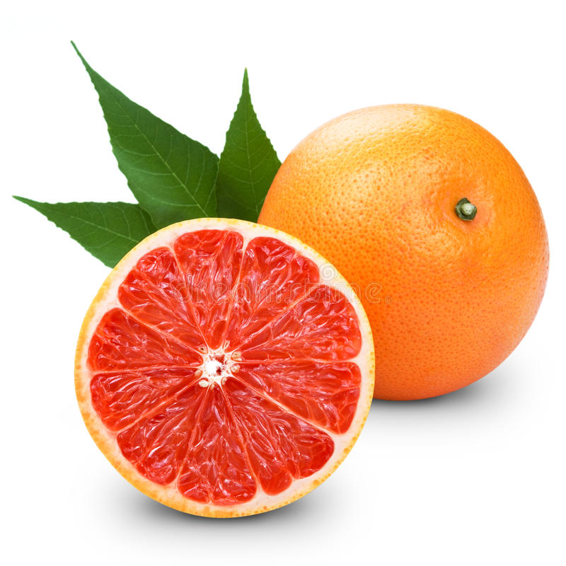 Grapefruit with slice detail on stock images