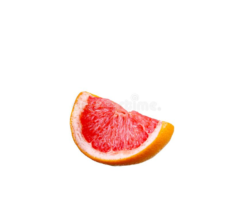 Grapefruit with slice detail on white royalty free stock photography