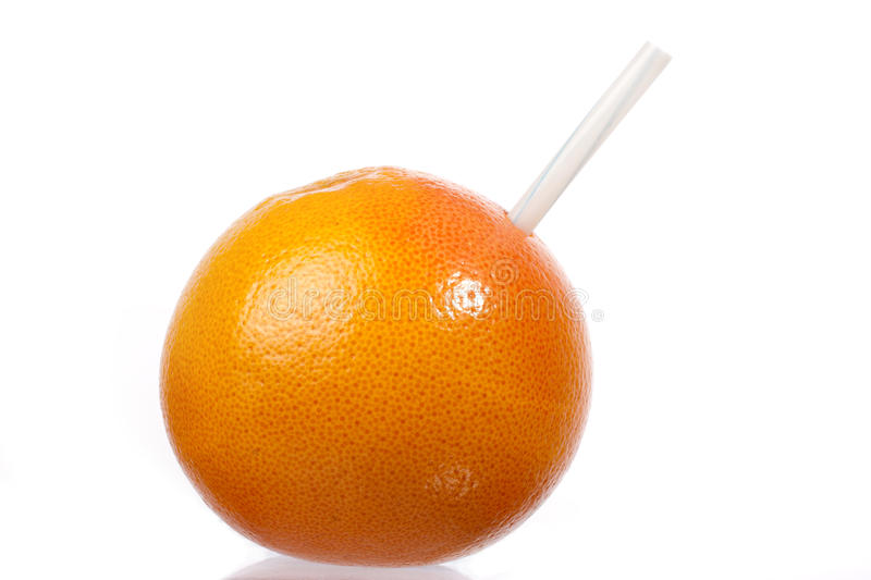 Grapefruit with straw